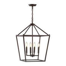 "Pagoda 4-Bulb Lantern Metal LED Pendant, Black, 16"""