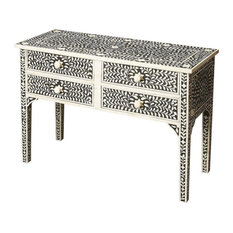 Console Table Distressed Heritage Black White Wood Bone MDF Ha