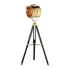 Gold Stainless Steel, Black Adjustable Wood Leg Floor Lamp