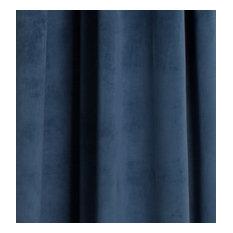 "Milan Lapis Blue, Luxurious Velvet, Pinch Pleat Drapery Panel, Lined, 24 X 95"""