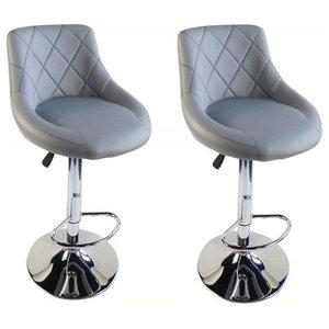 2 Bar Stools Set, Faux Leather With Backrest, Adjustable Swivel Gas Lift, Grey