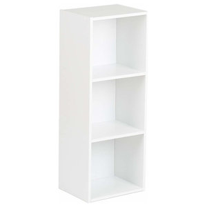 Contemporary Freestanding Bookcase, White Painted MDF With Compartments