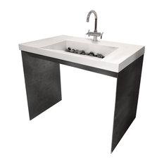 Contempo Concrete Bathroom Sink, White Linen, 1 Hole