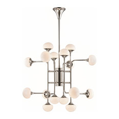 Fleming 16-Light Chandelier - Polished Nickel Finish with Opal Glossy Glass