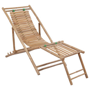 vidaXL Bamboo Deck Chair With Footrest