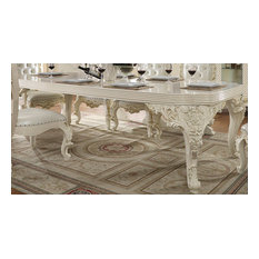 Traditional Style White Gloss & Gold Brush Highlights 9 Piece Dining Table Set