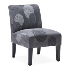 BELLEZE Armless Single Curved Slipper Accent Chair, Charcoal Sunflower