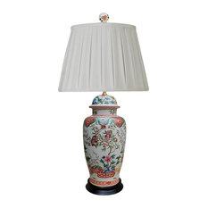 "Chinese Porcelain Floral Motif Temple Jar Table Lamp 30"""