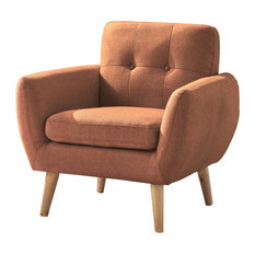 GDF Studio Joseline Mid Century Modern Petite Fabric Club Chair, Burnt Orange