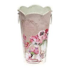 American Style Retro Flower Barrel Wavy Edged Iron Decorative Flowers Vase, Pink