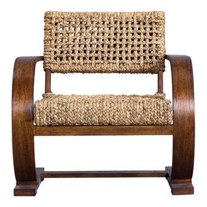 Rehema Natural Woven Accent Chair Tropical Armchairs