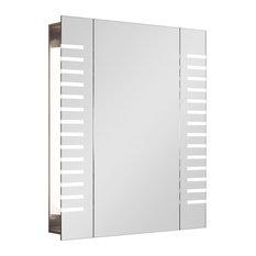 Cent Demisting Mirror Bathroom Cabinet, Striped LED Lights
