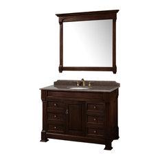 """Single Vanity, Dark Cherry, 48"""", Top: Imperial Brown Granite,"""