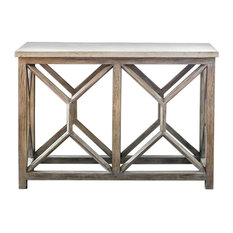 Uttermost - Catali Ivory Limestone and Java Wood Console Table - Console Tables