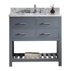 "Virtu Caroline Estate 36"" Single Bathroom Vanity, Gray With Marble Top, Mirror"