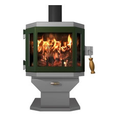 Catalyst Pewter Wood Stove with Forest Green Door