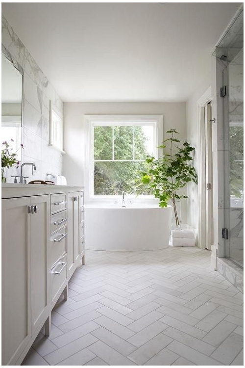 Help with floor tile for herringbone pattern in master bath