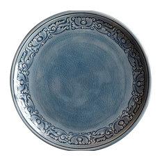 Blue Celadon Plates - Border Floral, Large