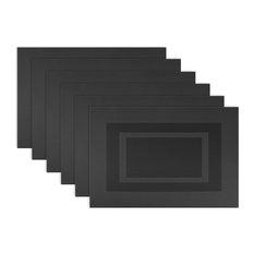 DII Black PVC Doubleframe Placemat, Set of 6