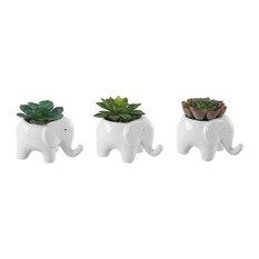"""Ceramic Elephant Pot With Faux Succulent  5"""", Set Of 3"""