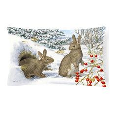 Winter Rabbits Fabric Decorative Pillow