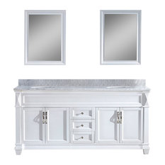 Ida Vanity, White Marble Top, With Mirrors, Without Faucets, Round Sinks, 72""