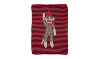 Sock Monkey Stripe Junior Throw