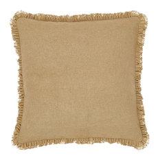 """Burlap Natural 16""""x16"""" Fringed Pillow"""