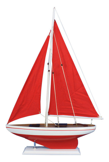 Pacific Sailer, Wood Model Boat, Red And Red Sails, 25