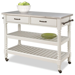 Cameron White Kitchen Cart With Granite Top Contemporary