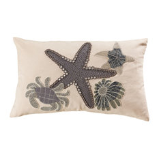 Coastal Treasures Decorative Pillow in Dark Grey With White