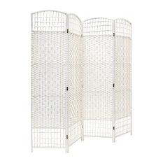 Traditional 4-Panel Folding Room Divider, Wooden Frame, White