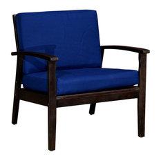 DTY Outdoor Living Longs Peak Eucalyptus Chair W/ Cushions, Espresso, Navy
