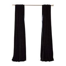 "Signature Warm Black Blackout Velvet Curtain Single Panel, 50""x120"""