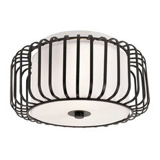 Black and Frosted Glass Ceiling Fixture