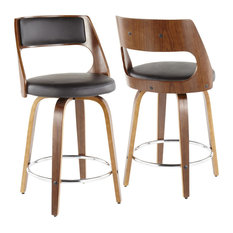 Cecina Mid-Century Modern Counter Stool In Walnut And Faux Leather Set Of 2 B