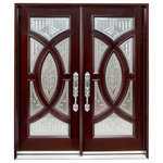 """BGW Doors - Exterior Front Entry Double Wood Door 705A 36""""x80""""x2, Left Hand Swing In - This door is pre-hung and prefinished, and comes as shown with clavos. It is 73 1/4"""" X 81""""X 5 1/4"""". The glass is clear tempered dual paned. This also comes with interior molding and exterior brick molding. The door does not come with Entry Door hardware but is bored out for tubular latch Entry Hardware. It is a left hand swing In."""
