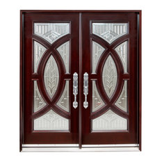 """Exterior Front Entry Double Wood Door 705A 36""""x80""""x2, Left Hand Swing In"""