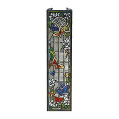 "9"" x 36"" Handcrafted stained glass window panel Butterfly Garden Flower"
