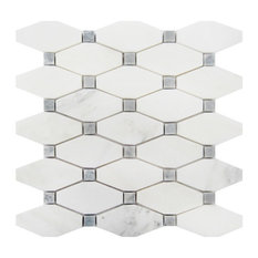 """Arabescato Carrara Octave Honed Mosaic Tile, 10 Sq. ft., 12""""x12"""""""
