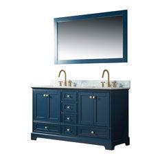 """Jocelyn Bathroom Sink Vanity Set, White Marble Top, Base: Blue, 60"""""""