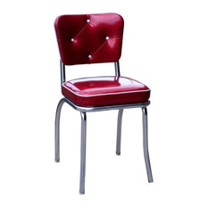 Chrome Diner Chair with Button Tufted Back, Glitter Sparkle Red, Box Seat