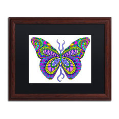 "Ahrens 'Bashful Garden Butterfly Blooming', Wood Frame, 20""x16"", Black Matte"