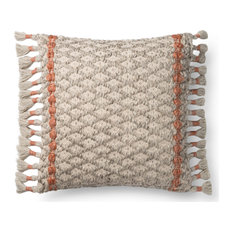 "Dyed Wool 22""x22"" Decorative Pillow, Gray/Rust, Down/Feather"