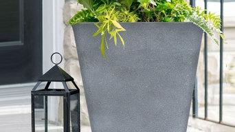 Tall Grey Rectangular Planter