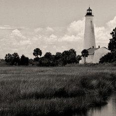 St Marks Historic Lighthouse Florida Fine Art Black and White Photography, 12x18