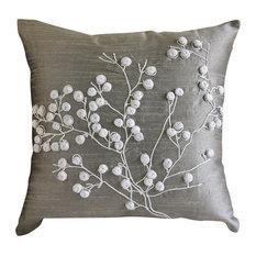 Gray Pop Pom Flower Pillows Cover, 20x20 Silk Throw Pillows Cover, Snow Flowers