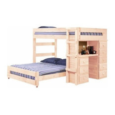 Henderson Full over Full Loft Bed with Desk and Storage, Unfinished, Extra Long