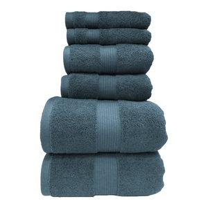 Plush 100% Cotton Towels, 6PC Bath Towel Set, Seaside Blue
