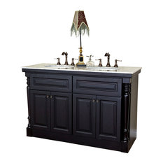 "Bellaterra 55"" Double Sink Bathroom Vanity, Dark Mahogany"